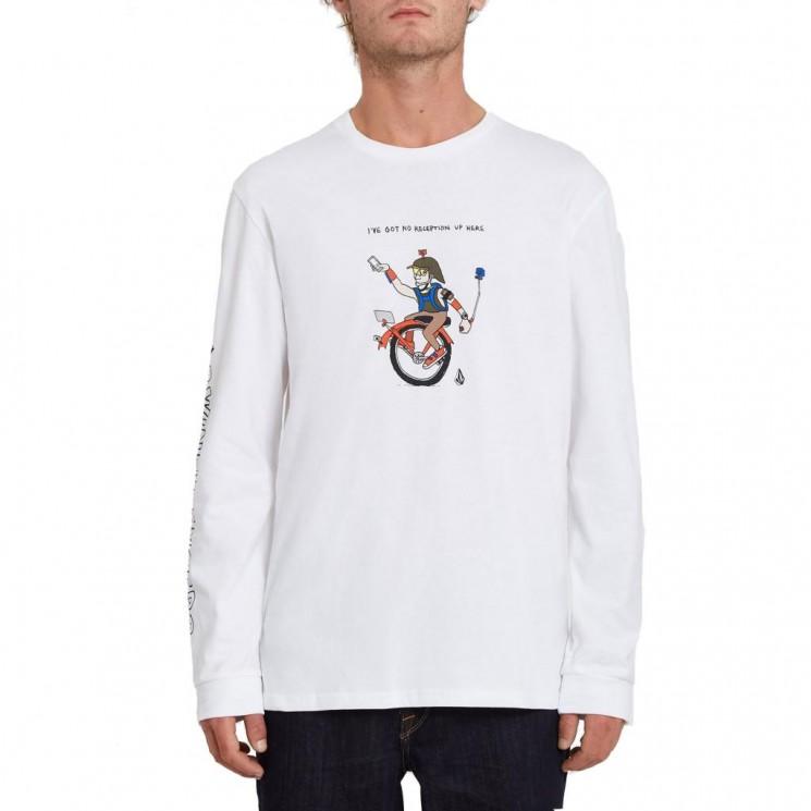 Camiseta Volcom Pentagram Pizza FA LS Blanca