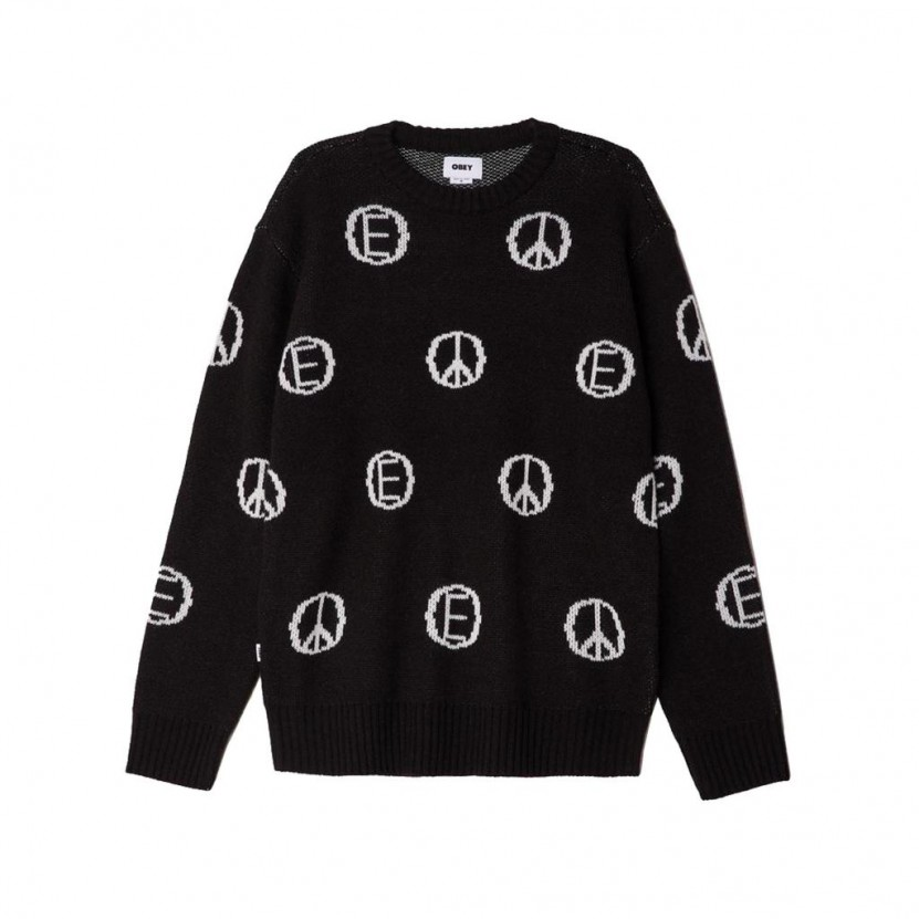 Jersey Obey Discharge Sweater Negro