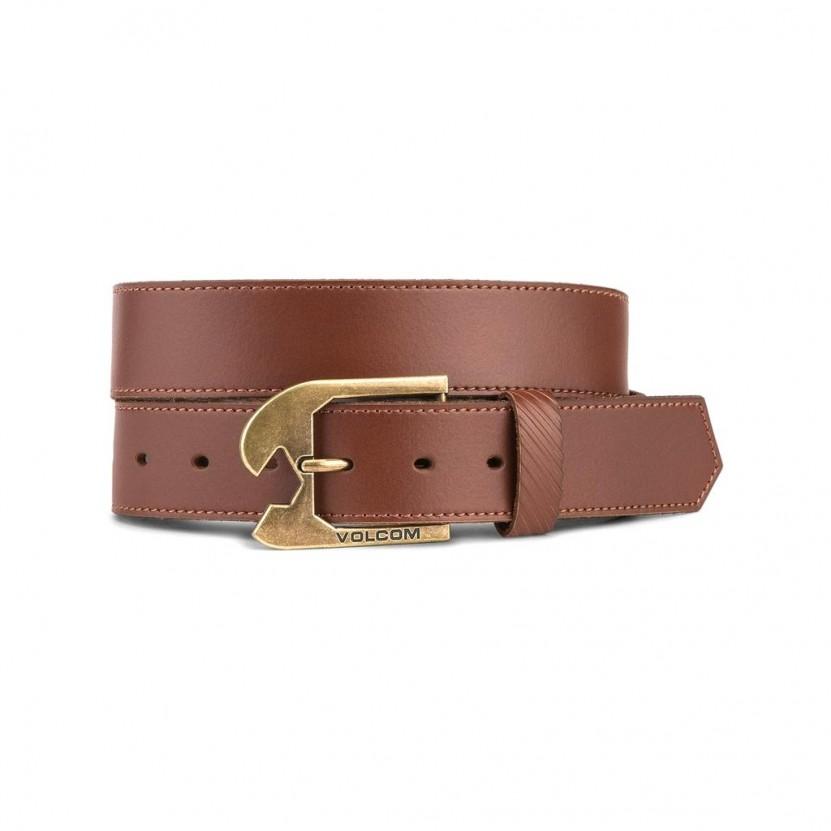 Cinturon Volcom Skully Leather Belt Marron